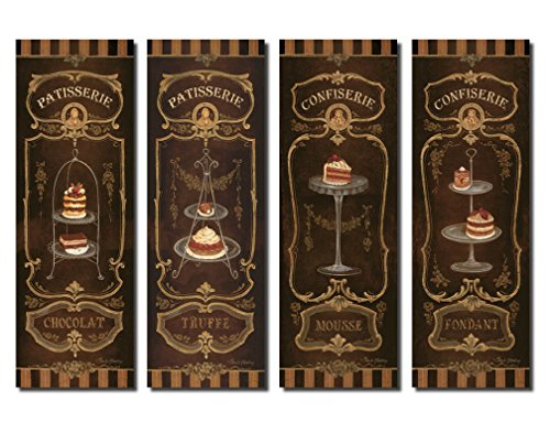 Vintage French Dessert Panels Chocolot, Truffe, Fondant, Mousse, Kitchen Decor Four Poster Prints