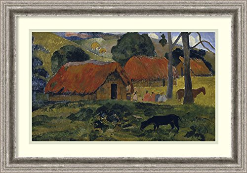framed-art-print-dog-in-front-of-the-hut-le-chien-devant-la-hutte-by-paul-gauguin