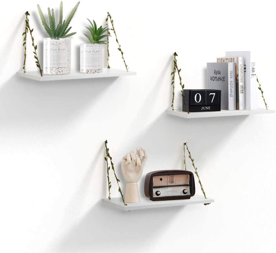 AHDECOR LeafRope Hanging Floating Shelves, Wall Swing Storage Shelf for Home Décor, White, 3-Pack