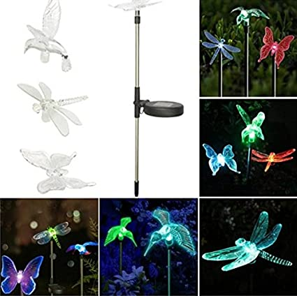 Illuminologie 3 Piece Outdoor Light Set; Butterfly, Hummingbird And Dragonfly  Garden Stake Lights