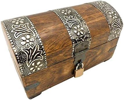 Cofre del Tesoro Caja de madera caja de madera baúl con candado Caja Caja Cofre del Tesoro, marrón, klein: Amazon.es: Hogar