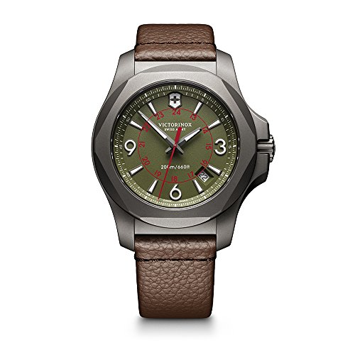 Victorinox Swiss Army Men's I.N.O.X. Titanium Swiss-Quartz Watch with Leather Strap, Brown, 21 (Model: 241779)
