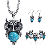 Miraculous Garden Girls Vintage Owl Jewelry Sets Silver Retro Turquoise Gemstone Owl Pendant Necklace Drop Earrings Charm Bracelet Set (Antique Silver)