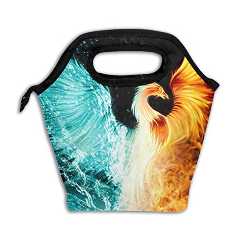 Fire Ice Phoenix Garden Insulated Reusable Lunch Box Portable Lunch Tote Bag Meal Bag Ice Pack