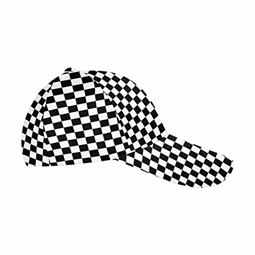 Black And White Checkered Hat (InterestPrint Classic Dad Hat Adjustable Hip-hop Cap Black and White Checkered)