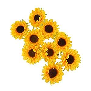 """Colorfulife Artificial Silk 3.5"""" Sunflower Flower Head for Wedding Home Party Decoration Hair Clip Wreath Decorative 2"""