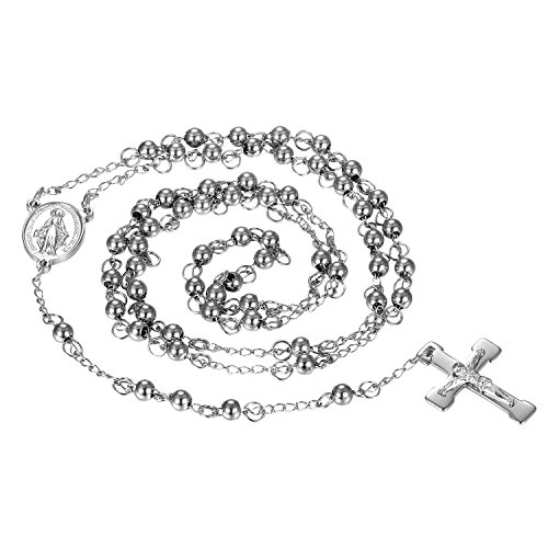 (Oidea 6MM Mens Womens Stainless Steel Vintage Jesus Crucifix Christ Cross Pendant Rosary Beads Necklace,Silver)