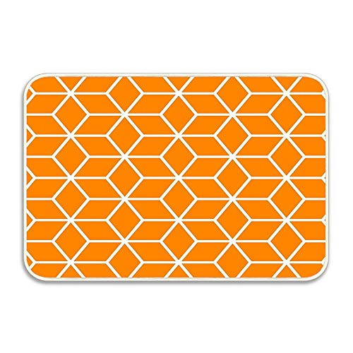 Orange Interlocked Hexagon Lattice Welcome Door mat Fanny Rugs for Outdoor and Indoor Home and Garden 24''X16''