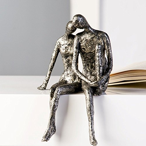 Designer-Figur Skulptur Kantensitzer Couple in Antik-Silber 25 x 18 H x B