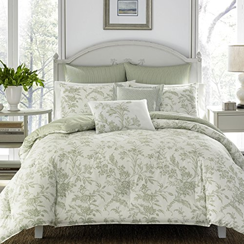(Laura Ashley Natalie Bonus Comforter Set, Full/Queen, Sage Green)