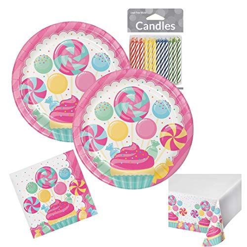 Girls Birthday Party Candy Bouquet Themed Pink Party Supplies Disposable Tableware Bundle Serves up to 16 Guests Includes Plates, Napkins, Tablecover & Candles