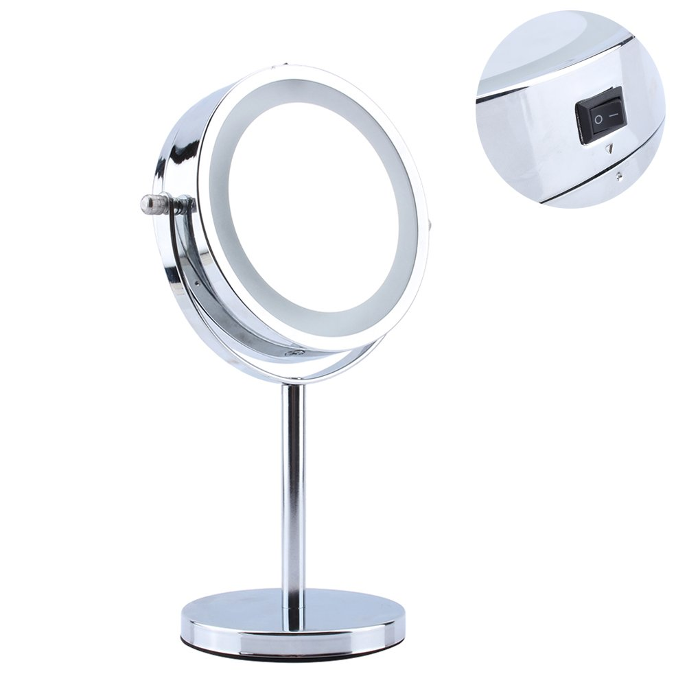 Greensen Round Makeup Mirror, 360°Swivel Detachable Double Sided LED Light Up Mirror 5x Magnifying Vanity Mirror for Beauty Shaving