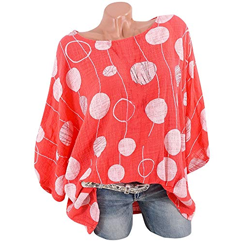 Xinantime Women Oversize T Shirt O-Neck Polka Dot Blouse Pullover Tops Shirt Loose Thin Blouse Tops Sweatshirt (Fur Genuine 3/4 Rabbit Coat)