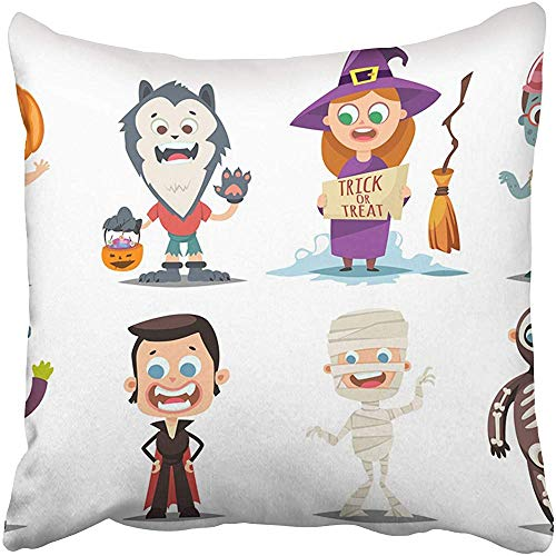 Starocle Halloween Kids Costumes Pumpkin Vampire Werewolf Zombie Witch with Broom Mummy and Skeleton Cartoon Throw Pillow Covers 18x18 inch Decorative Cover Pillowcase Cases Case Two Side ()