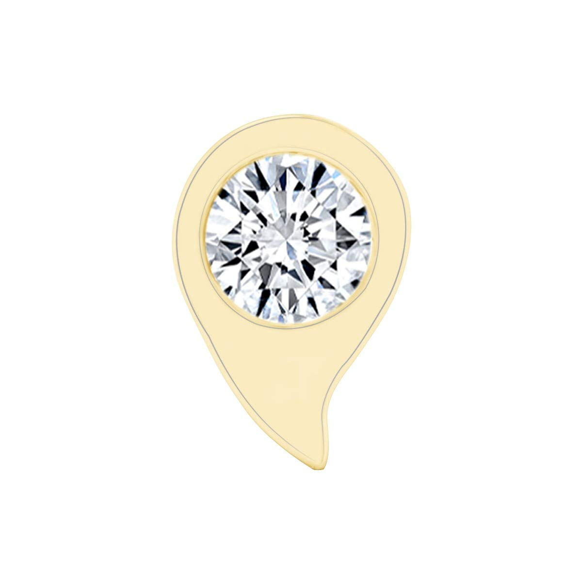 Natural Diamond Teardrop Solitaire Nosepin 14k Solid Gold AFFY MNo-M-CMNP1709-RG