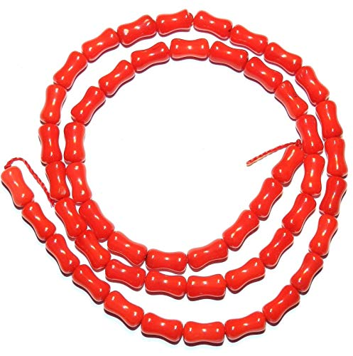 Bead Jewelry Making Red Bamboo Coral 8mm Concave Round Tube Beads 15