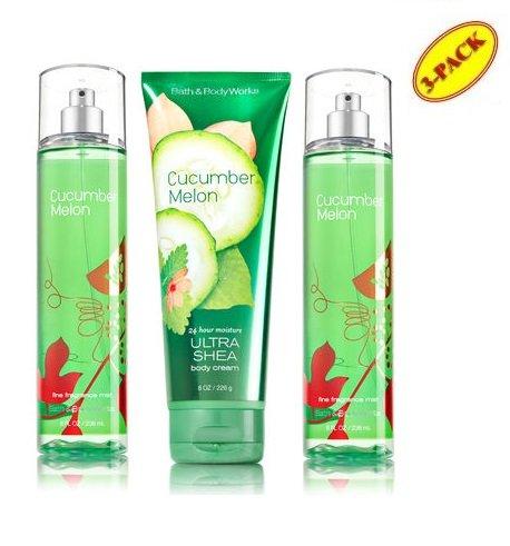 Bath & Body Works Cucumber Melon 2 Fragrance Mist & 1 Body Cream Lot of 3 Full Size Gift Set
