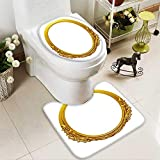 Analisahome 2 Piece Shower Mat set golden oval frame with ornaments in gold for pictures or mirror Custom made Rug Set