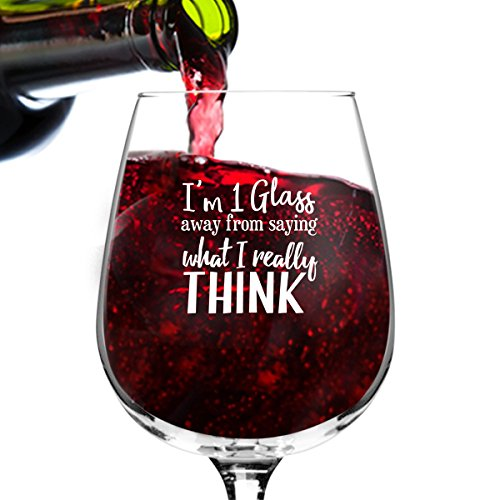 What I Really Think Funny Wine Glass Gifts for Women- Premium Birthday Gift for Her, Mom, Best Friend- Unique Present Idea