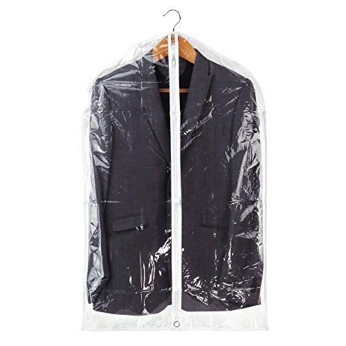 (HANGERWORLD 12 Clear 40inch Showerproof White Trim Suit Coat Garment Clothes Carry Cover Protector Bags)