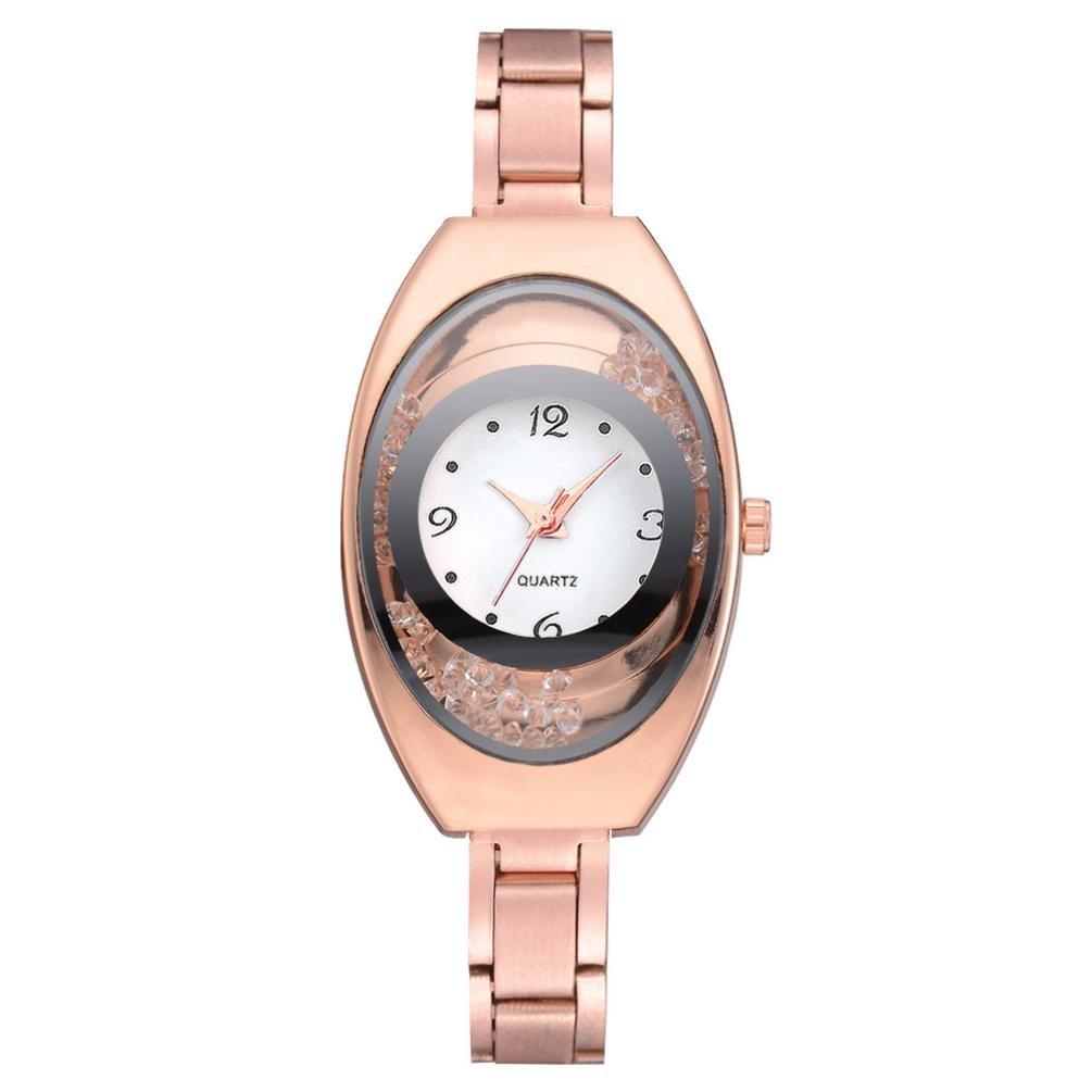 Relojes Mujer,❤LMMVP❤Brazalete de metal pulsera de cuarzo oro pulsera de cristal reloj de oro (Oro): Amazon.es: Relojes