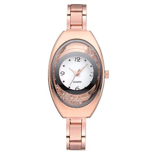 Relojes Mujer,❤LMMVP❤Brazalete de metal pulsera de cuarzo oro pulsera de cristal reloj de oro (Oro rosa): Amazon.es: Relojes