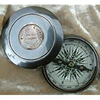 World Of Vintage Beautiful Robert Frost Full Road Not Taken Poem Solid Brass 2-inch Pocket Compass