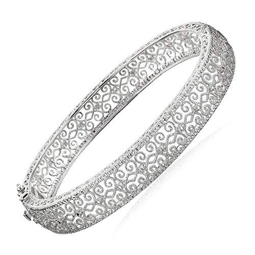 Filigree Bangle Bracelet with Diamond in Sterling Silver, 7.25