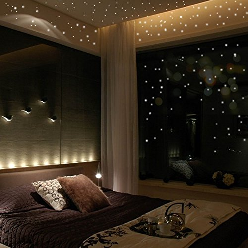 Fang-Ling 2 Set 407 Pcs Environmentally Friendly Round Dot Wallpaper,Glow in The Dark Star Luminous Wall Stickers Wall Decor Decals for Bedroom Home Decoration