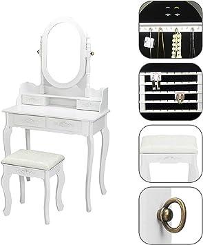 Single Mirror Jewelry Cabinet Dresser White