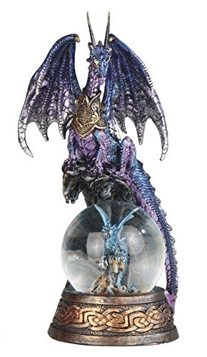StealStreet SS-G-71554 Purple Dragon on Baby Blue Dragon Snow Globe Decorative Statue