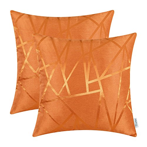 CaliTime Pack of 2 Throw Pillow Covers Cases for Couch Sofa Home Decor Modern Shining & Dull Contrast Triangles Abstract Lines Geometric 18 X 18 Inches Bright Orange