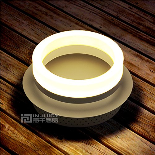 Injuicy Lighting Nordic LED Iron Acrylic Hallway Ceiling Light Lamp Home Bedroom Dining Room Bar (Single Head Black)