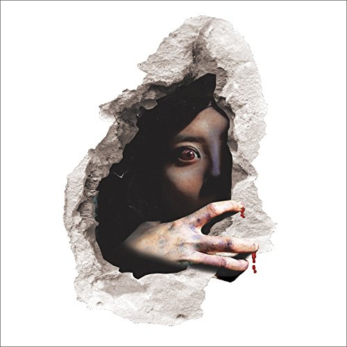 3D Halloween Horror Decoration Wall Decor Wall Sticker Scary Bloody Female Ghost Spirit Scratching The Wall Cracked Removable Home Art Mural Wallpaper (design1)