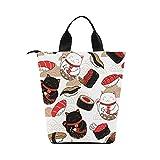 InterestPrint Sushi Food Cat Maneki Neko Nylon Cylinder Lunch Bag Tote Shopping Handbag, Japanese Good Luck Reusable Large Lunchbox Grocery Bag 12.40''x 7.28''x 12.32''
