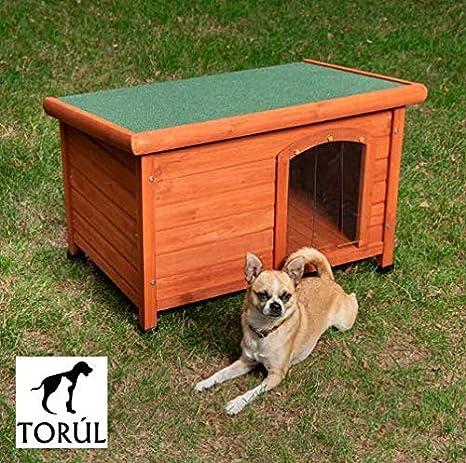 Torúl Woody Caseta de Madera Techo Plano y Puerta para Perros (L): Amazon.es: Productos para mascotas