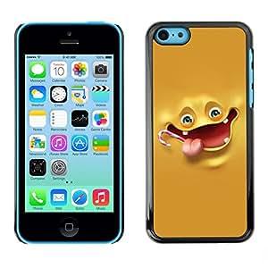FECELL CITY // Duro Aluminio Pegatina PC Caso decorativo Funda Carcasa de Protección para Apple Iphone 5C // Yellow Banana Character Laugh