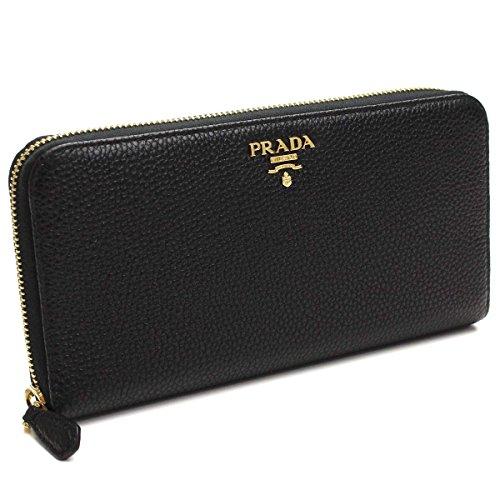 Prada Womens 1ML506 2E3A Vitello Grain Leather Wallet Nero (Black)