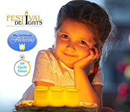 Timer Flameless Candles By Festival Delights - Premium IC-controlled Soft Flickering Votive Battery Operated Candles, 70+ Hours of Lighting, 5H Timer, Battery included, Dia. 1.5\