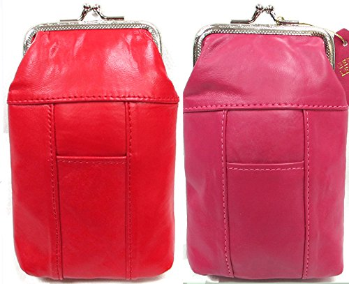 2pc Two Color Lot Women's Soft Leather Cigarette Pouch w/Lighter Pockets Fit 120's RED + HOT PINK 2pc for $10.99