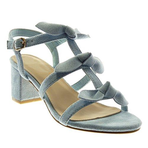 claro Alto Angkorly Correa Tobillo Multi Sandalias Tacón Zapatillas Azul 6 cm Ancho Nodo Moda 5 Mujer Correa de TUgBTx