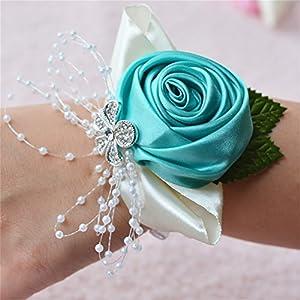 Prettybuy 2pcs Package Wedding Prom Party Satin Rose Wrist Corsage Flower w/ Pearl Rhinestone Fabric Leaves Ornament Wirstband (Tiffanly Blue) 57