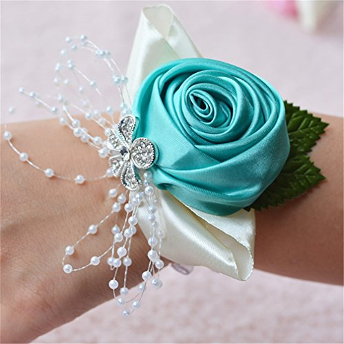 (Prettybuy 2pcs Package Wedding Prom Party Satin Rose Wrist Corsage Flower w/ Pearl Rhinestone Fabric Leaves Ornament Wirstband (Tiffanly Blue))
