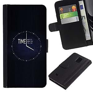 iKiki Tech / Cartera Funda Carcasa - Clock Black Minimalist Busy - Samsung Galaxy Note 4 SM-N910F SM-N910K SM-N910C SM-N910W8 SM-N910U SM-N910