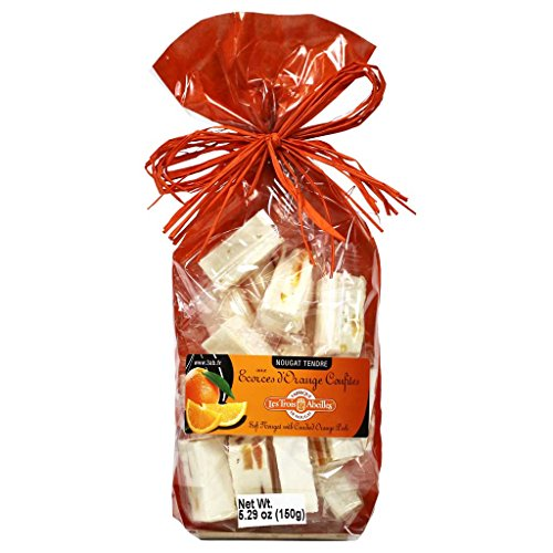 Les Trois Abeilles - Soft Nougat with Candied Orange Peels, 150g Bag (Orange Candy Bar)