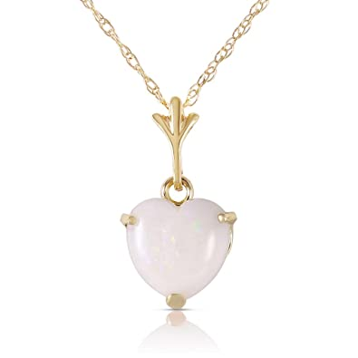 Amazon 14k 14 yellow gold heart shaped natural opal pendant 14k 14quot yellow gold heart shaped natural opal pendant necklace aloadofball Images