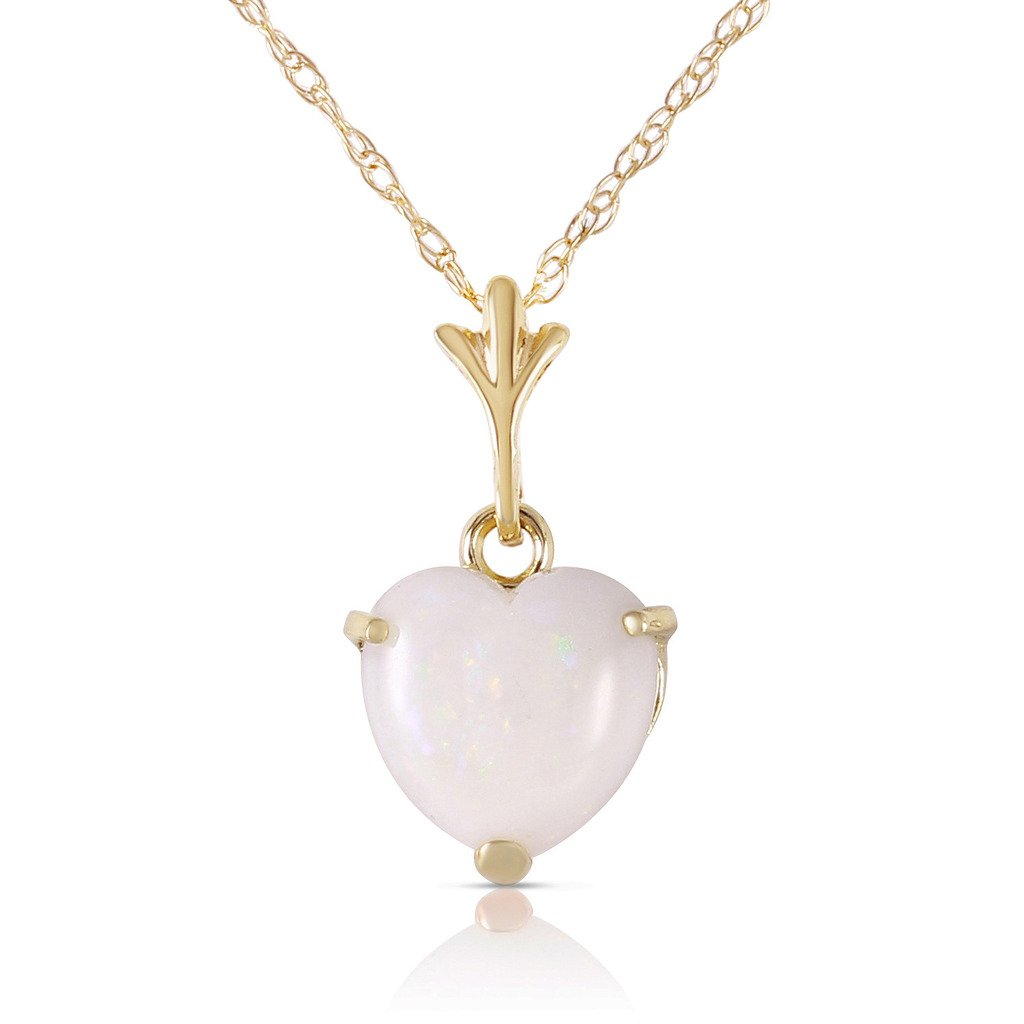 14k 14'' Yellow Gold Heart-shaped Natural Opal Pendant Necklace
