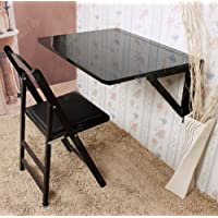 Haotian Wall-mounted Drop-leaf Table, Folding Dining Table Desk, Solid Wood Table, 75cm(29.5in)×60cm(23.6in) - black, FWT05-Sch