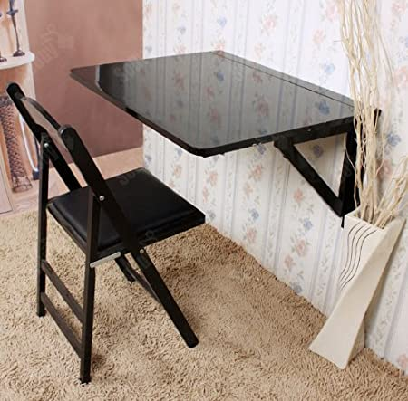SoBuy Wall Mounted Drop Leaf Table, Folding Dining Table Desk, Solid Wood