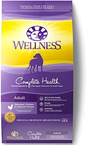 Wellness Complete Health Natural Dry Dog Food with Grain, Chicken & Oatmeal, 30-Pound Bag
